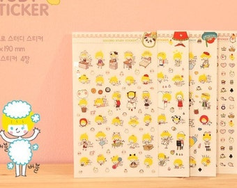 4 Sheets Korea Pretty Sticker Set - Colorful Paper Sticker Set
