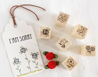 12 Kinds  Korea DIY decoden  Wooden Stamp Set  Rubber Stamps-Flowers