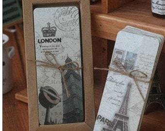 30 Sheets Pretty The Eiffel Tower Paper Bobbin Card Bookmarks Sets