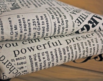 On Sale -Cotton Linen Fabric Cloth -DIY Cloth Art Manual Cloth -Newspaper In English 54x19 Inches