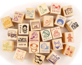 1 Sets / 25 kinds of Korea  DIY Woodiness stamp diary stamp set---I make you happy