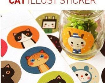 Korea Waterproof cute cartoon cat and doll multi-purpose stickers diary stickers Set