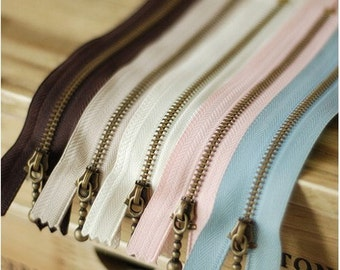 Copper Short Zippers - Scallop Clothes Purse Bags Metal Zipper Trim DIY Fabric Crafts 5'Pcs - 5.9 Inches