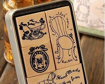4 Kinds Korea DIY Wooden Rubber Stamp  - Vintage Style -Diary Stamps
