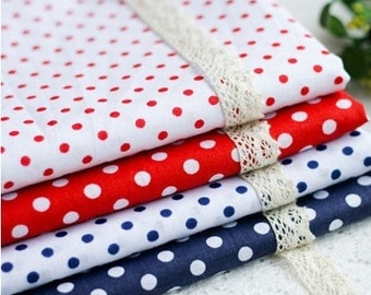 """8 Pieces Oceanic Wind Red Blue Stripes Color Collection Cotton Cloth Quilt Fabric 10 x10Inches """" Each (25 x 25CM)"""