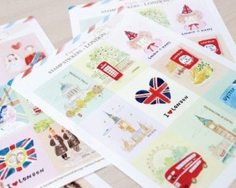 3 Sheets Korea Paper Deco Sticker Stamp-Stamp Sticker