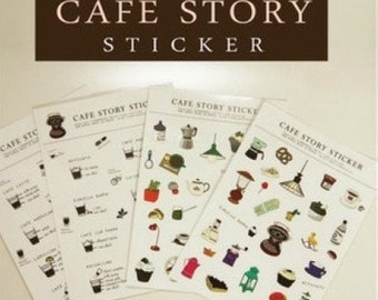 4 Sheets Korea Pretty Sticker Set - Deco Sticker Set -Cafe Story Sticker