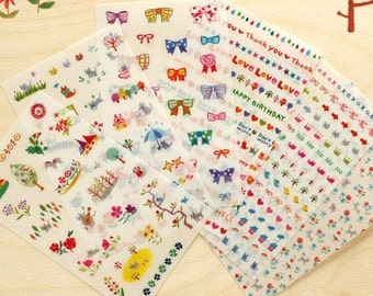 6 Sheets Korea Pretty Sticker Set - Deco Translucent Sticker Set Cat adornment stickers Set
