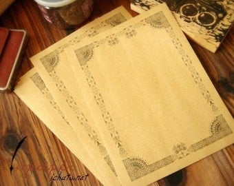 16 Sheets Kraft Paper Letter Writing Paper Sets-Egypt Lace