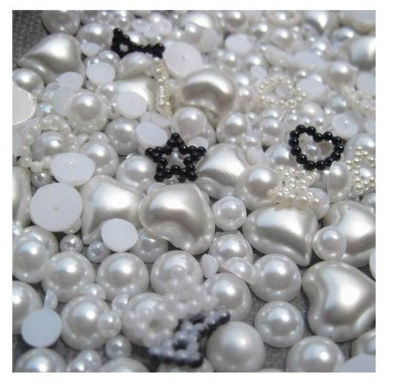 700 pcs Japanese Pearl peach heart set  (white)  Decoration and Nail Art  (2mm-12mm)