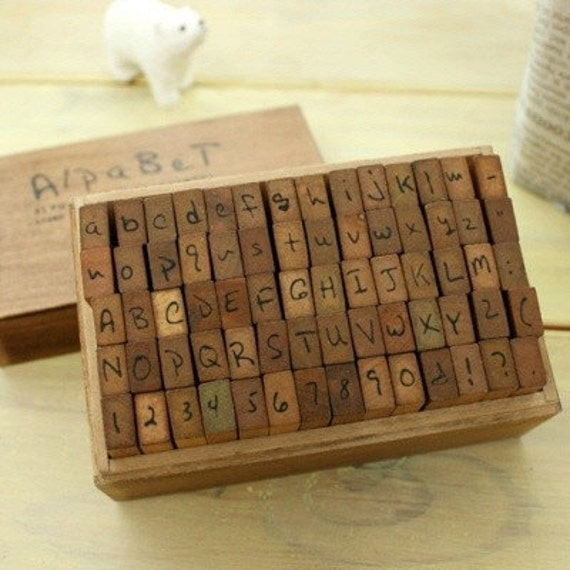 Wooden Rubber Stamp Box - Vintage Print Style - Capital Alphabet Stamp and Number Stamp - 70 Pcs