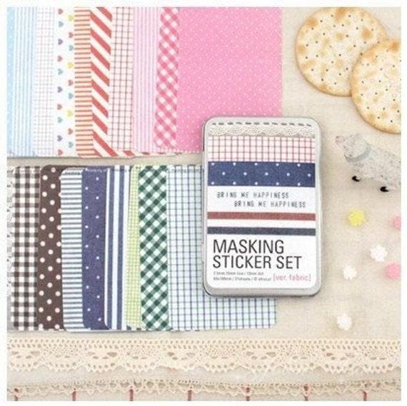 27 Sheets Korea Pretty Sticker Set - Colorful Paper Tape-iron boxes-Fabric