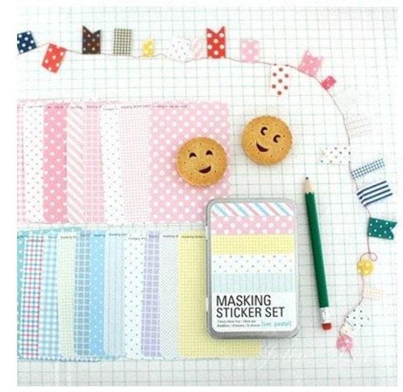 27 Sheets Korea Masking Sticker Set - Paper Deco Sticker Set -Iron Boxes--Pastel