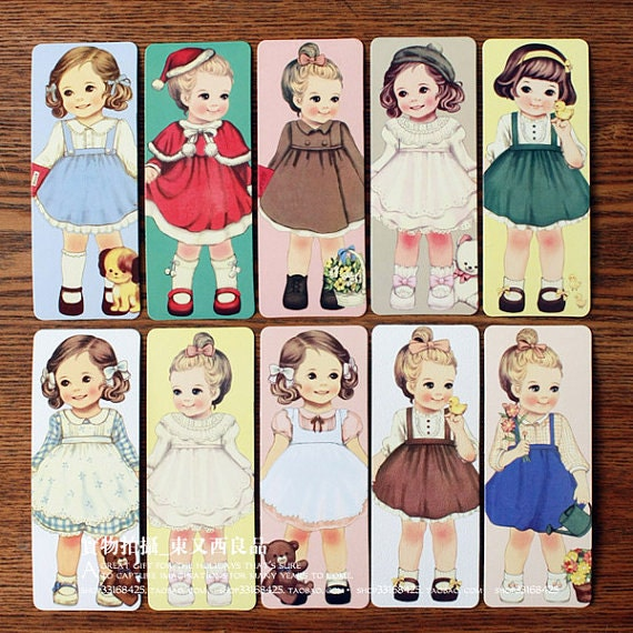 30 Sheets Pretty Doll Paper Bobbin Card Bookmarks Sets