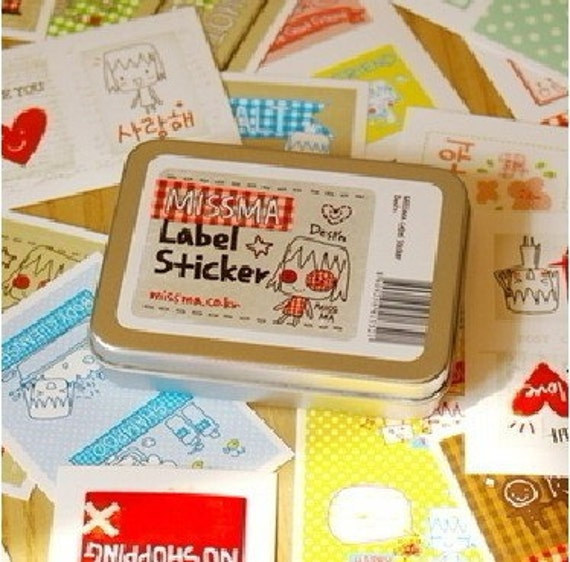 Korea DIY Decoden Deco Iron Boxes Missma Label Sticker Sets
