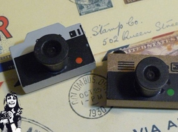 Wooden Rubber Stamp - Vintage Style - Camera Stamp 1 Pcs