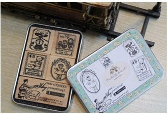 5 Kinds Korea DIY Woodiness rubber stamp