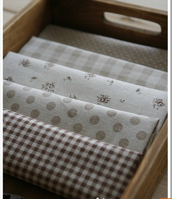 Cotton Linen Fabric Cloth -DIY Cloth Art Manual Cloth - Joining Together Grid Polka Dots 43x18 Inches