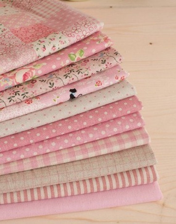 """Cotton Linen Fabric Cloth -DIY Cloth Art Manual Cloth -Sweet Flowers Pink Series  11Pieces 13x19 Inches """" Each"""