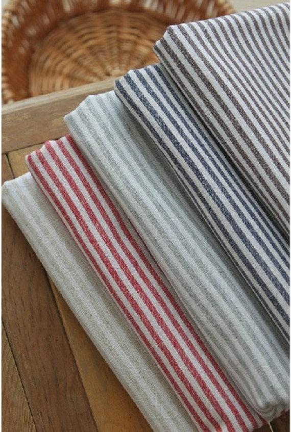 Cotton Linen Fabric Cloth -DIY Cloth Art Manual Cloth -Stripe Anchor Cloth 55x19 Inches