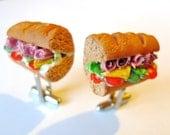 Sub Sandwich Cuff Links Men Fake Miniature Food Bread Ham Meat Wedding Groomsmen