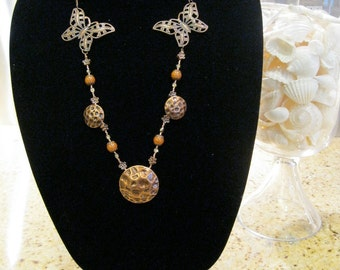"""Copper Butterfly Necklace, Aztec Style Necklace, Ethnic Style, Nature Inspired, """"The Copper Age Took Flight"""""""