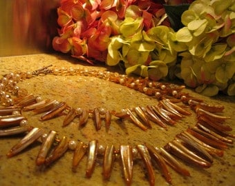"""Orange Shell Multi Strand Necklace, Ethnic Style, African Style, Fantasy Style, Peach Tones, Earth Colors,  """"The African Queen"""""""