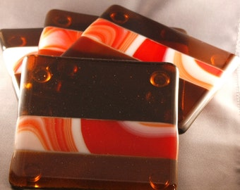 Amber Glass Coasters - set of four