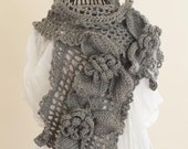 CROCHET PATTERN instant download - Ice Queen Scarf - beautiful unique large feminine grey gray flower lace shawl tutorial PDF