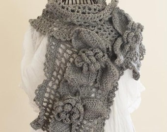 CROCHET PATTERN instant download - Ice Queen Scarf - beautiful unique large feminine grey gray rose lace shawl tutorial PDF