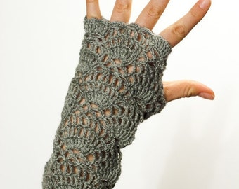 CROCHET PATTERN instant download - Flower for the Wind Chaser Gloves - grey fingerless lace hand warmers fashionable unique tutorial PDF