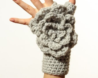 CROCHET PATTERN instant download - Winter Waterfall Gloves - gray fingerless mittens with large rose tutorial PDF