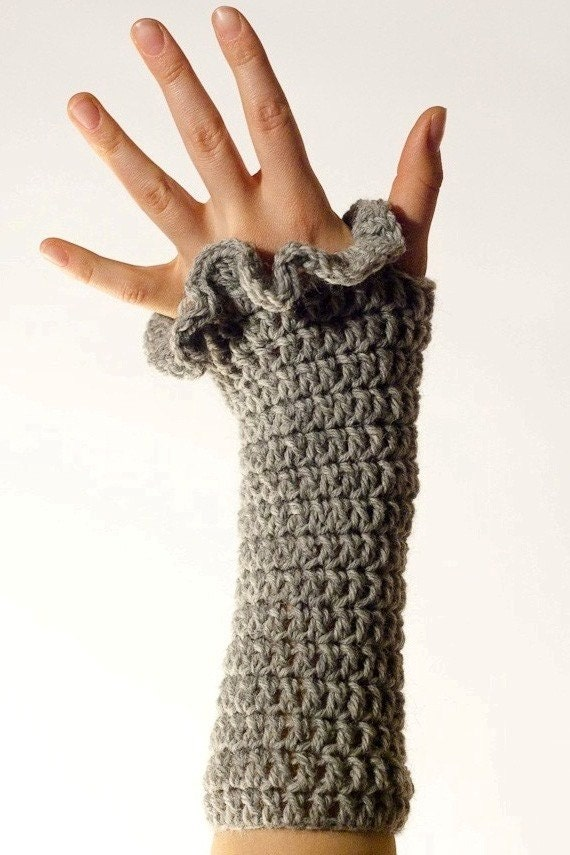 CROCHET PATTERN instant download - Tiffany Teaser Gloves - grey fingerless fashionable hand warmers ruffled edge tutorial PDF