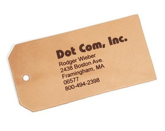 3 Leather Luggage Tags Personalized and Customized  Large One Sided Printing