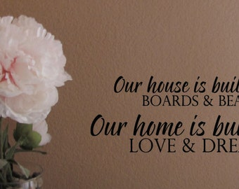 Our House is Built Our Home is Love and Dreams Vinyl Wall Decal
