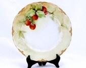 Vintage Plate Hutschenreuther  Handpainted Strawberries Gold Trim SALE