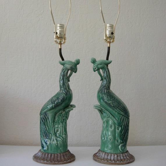 Vintage Lamp Pair Ceramic Bird