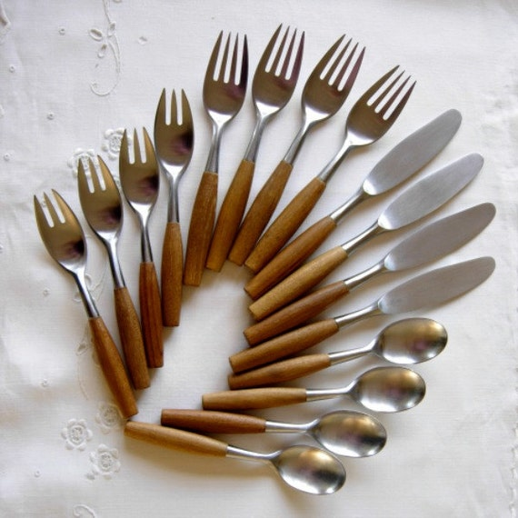 Vintage Dansk Fjord Teak Handle Flatware 16 By