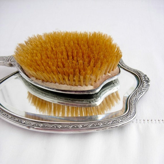 Antique Mirror Brush Set Sterling Silver