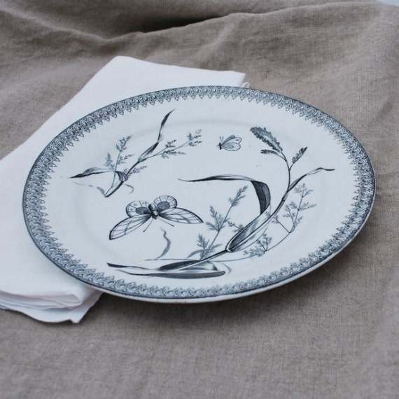 Antique Dinner Plate Black Transferware Summer Time T R Boote England