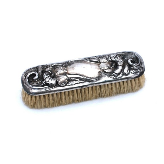 vintage clothes brush nouveau repousse silverplate