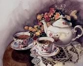 TEA FOR TWO----Watercolor ---By Ray Lockhart