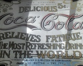 Fabulous VINTAGE ---70s COCA-COLA--------- Relieves Fatigue---- Mirror Tray