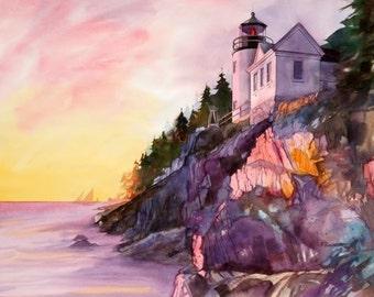 Bass Harbor Light--- MAINE-----Watercolor By Ray Lockhart