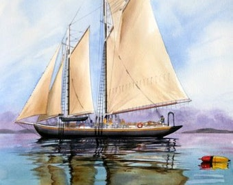 Gaff Schooner ---- Peaceful Harbor----Watercolor By Ray Lockhart