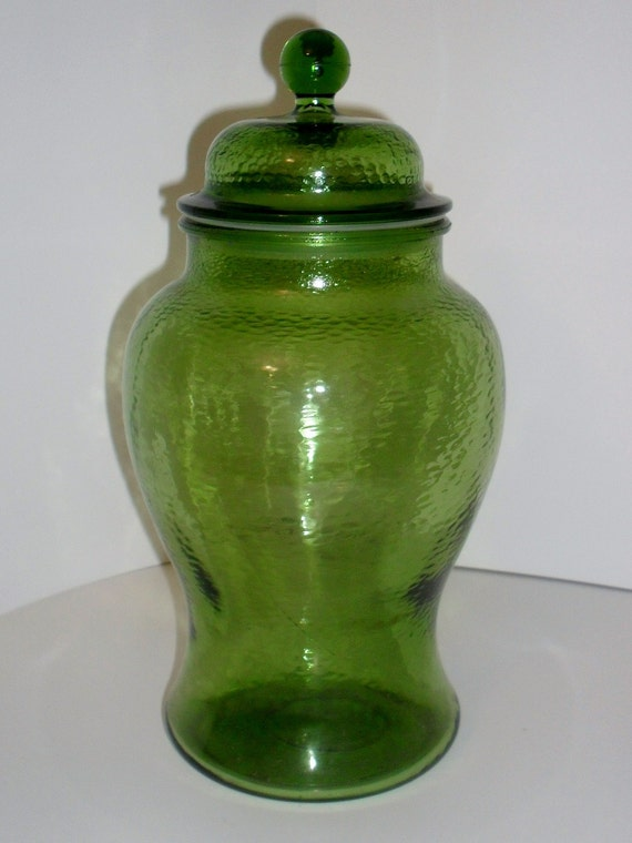 Green Pebble Glass Large Apothecary Jar With Top Vase