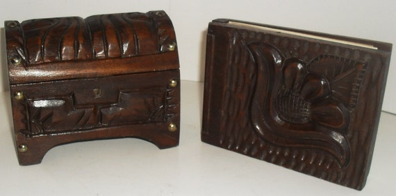 Very Unique Antique Carved wooden Jewelry Chest and Carved wooden Pad --Hand carved and Made in Honduras