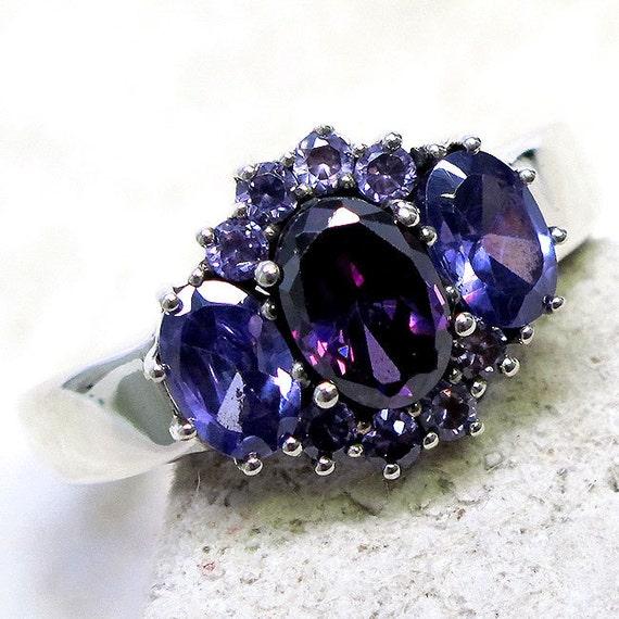 20 percent off sale--code --Festive--Beautiful 2 CT Purple Sapphire/Amethyst Ring----Circa 80s -- Hallmarked