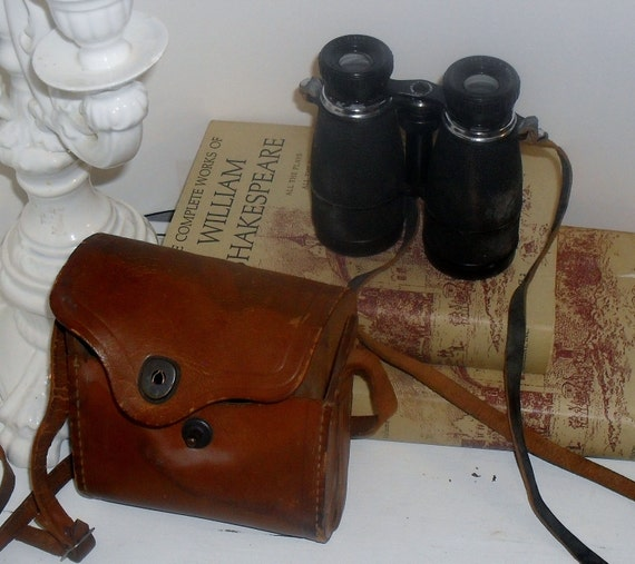 Vintage Achromatic Binoculars & Antique Leather Case Very Cool Decorating Piece
