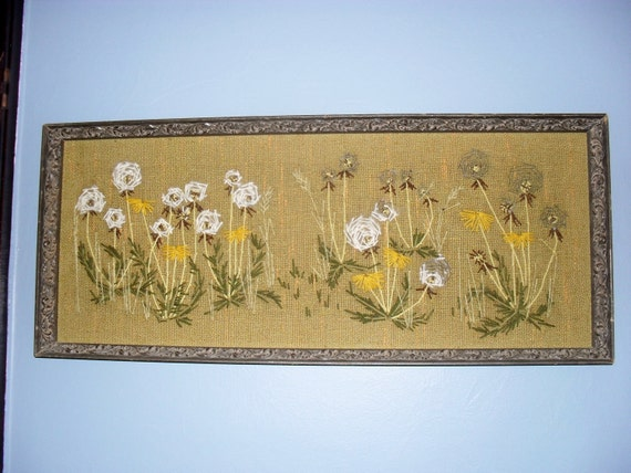 LOVELY----UNIQUE---Vintage Tapestry  Dandelions-----HUGE
